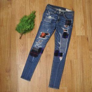 Rag & Bone Harajuku Patchwork Skinny Jeans 27x32